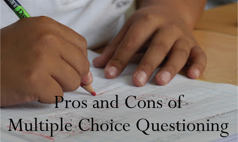 "kids hands doing school work with caption, ""Pros and cons of multiple choice questioning"""