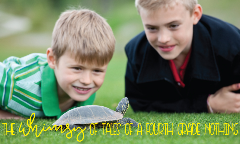 "2 young boys looking at a turtle in the grass with caption, ""The whimsy of Tales of a fourth grade nothing"""