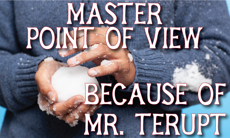 """Man wearing a sweater and holding a snowball in his bare hands with caption, """"Master Point of View because of mr. terupt"""""""
