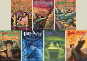 book covers for each of the 7 Harry Potter books