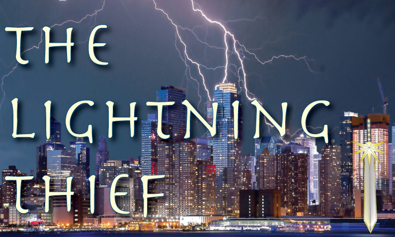 """New York City skyline being struck by lightning with the title, """"The Lightning Thief"""""""