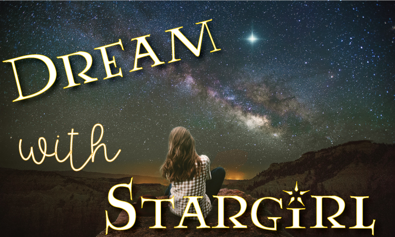 Young teen girl sitting on top of mountain looking at the starry night sky with title Dream with Stargirl