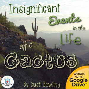 Desert landscape with the title Insignificant Events in the Life of a Cactus