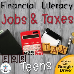 calculator and wallet laying on desk captioned with Jobs and Taxes for Teens